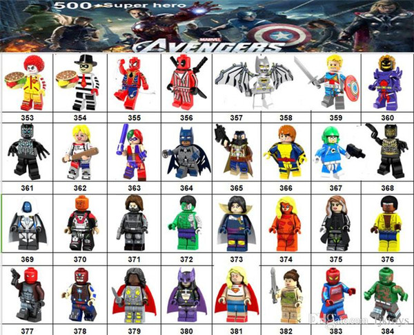 Wholsale Super hero Mini Figures Marvel Avengers DC Justice League Wonder woman Deadpool Harley Quinn Joker building blocks kids gifts