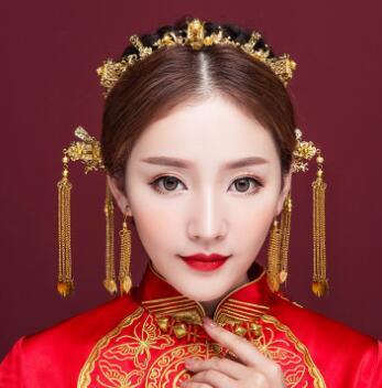 Altın yeni stil kostüm, püskül, Phoenix taç, Çinli gelinler, başlık seti, tost, elbise, gösteri, giyim, ejderha, Phoenix ve elbisesi erişim