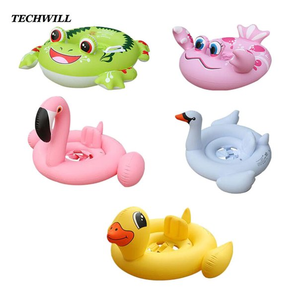 Crab Flamingo Inflatable Ring Baby Cute Swimming Rings For 1-6 Years Old Kids Animal Bathing Circle Swimming Pool Accessories