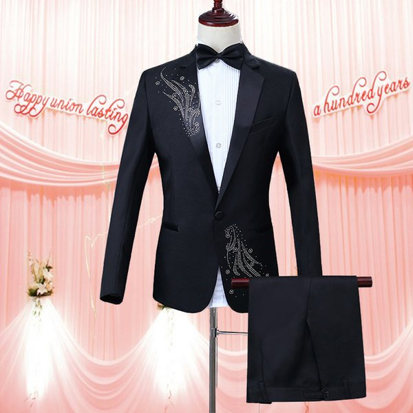 NEW Male tuxedo wedding ceremony of a new magician groomsmen will host a dinner dress men suit stage costumes (suit + pants)