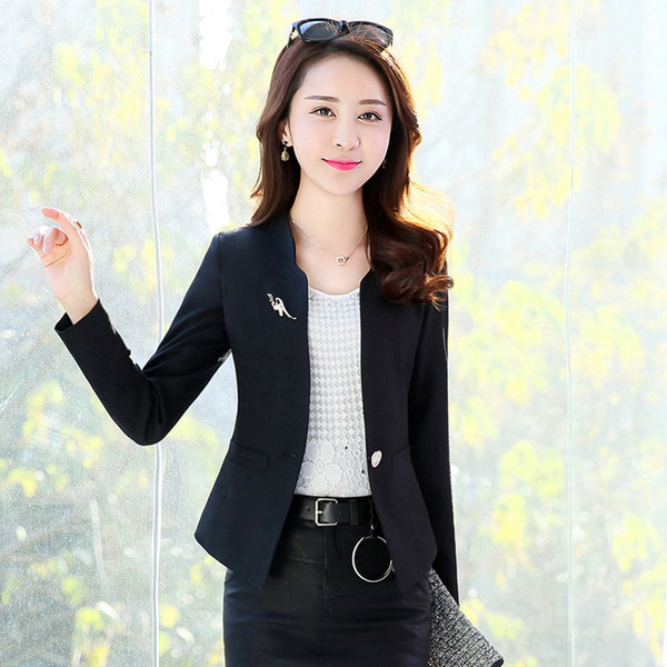 New hot fashion casual one button suit jacket ladies short solid color business office formal professional women's suit jacket