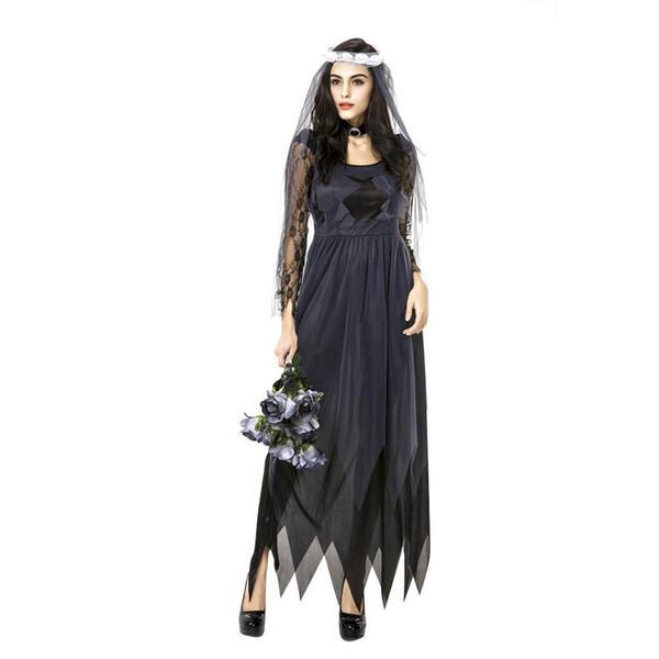 Lace Edge Gasa Fantasma Vestido de Novia de Halloween de Las Mujeres Cosplay Ropa de Fiesta Fiesta de Juego de Disfraces