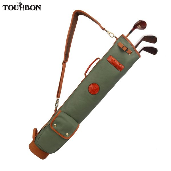 Tourbon Vintage Golf Club Bag Carrier Pencil Style Waxed Canvas & Leather Fleece Padded Clubs Interlayer Cover 90CM