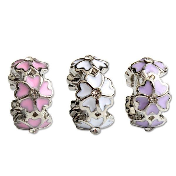 Fashion Charms Jewelry Findings And Components Fiore 3 colori spazio Branello allentato per bracciale Pandora stile europeo