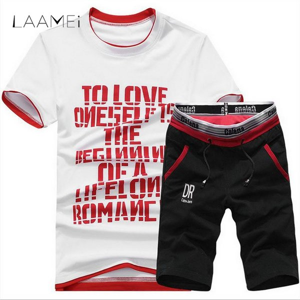 Laamei Letter Printed Men Tracksuit Male Fitness Suit Mens T Shirt Short Sleeve+ Short Pants For Male Tee Track Suit 2018 New