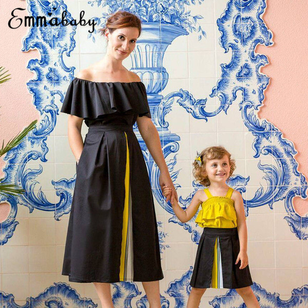 Family Matching clothes sets Mother&Daughter Women long skirts baby Girls Top+ skirts Party Sleeveless 2pcs fashion outfits set