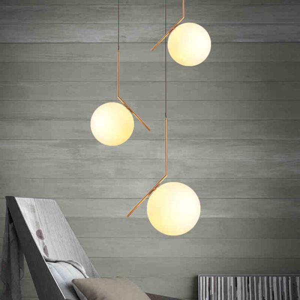 Globe nordique ronde pendentif lumière pour salon boule de verre lampe abat-jour lampe de cuisine lumière restaurant restaurant lampe suspendue E27