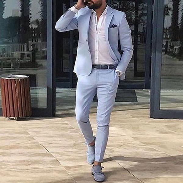 Abiti da uomo blu estivi 2018 Abiti da sposo da uomo Abito da sposo slim fit Abito da uomo classico Abito da uomo Best Blazer Prom Party 2 Pezzi