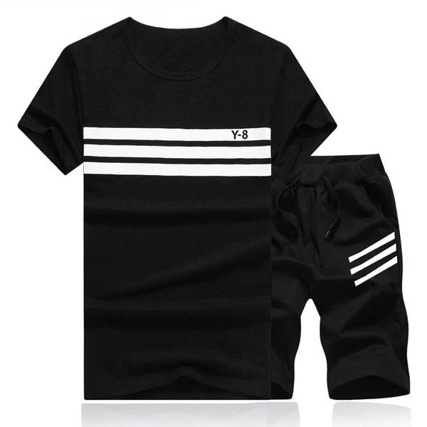 2018 Summer Set Men Causal Beach Suits Short Sleeve Shorts 2PCS Sweatsuit+Pants Fashion Tracksuit Mens Sportsuits T shirt+Shorts