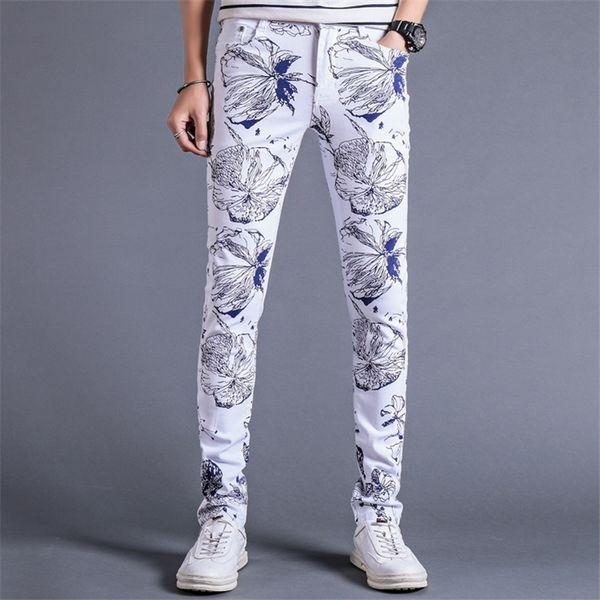 Men's Floral Jeans Slim Elegant Male White Denim Pants Fashion Casual Cotton Cowboy Trousers Men Size 28-36