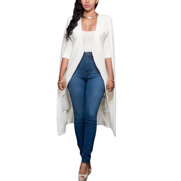 Women Long Cloak Cape Blazer Coat Cardigan Split Jacket Slim Office Wear Elegant Ladies OL Suit Casual Solid Outerwear female L18101301
