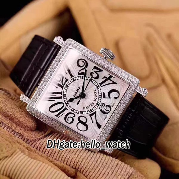 7 Color Master Square 6000 H SC White Dial Automatic Mens Watch Diamond Bezel Leather Strap Silver Case High Quality Watches