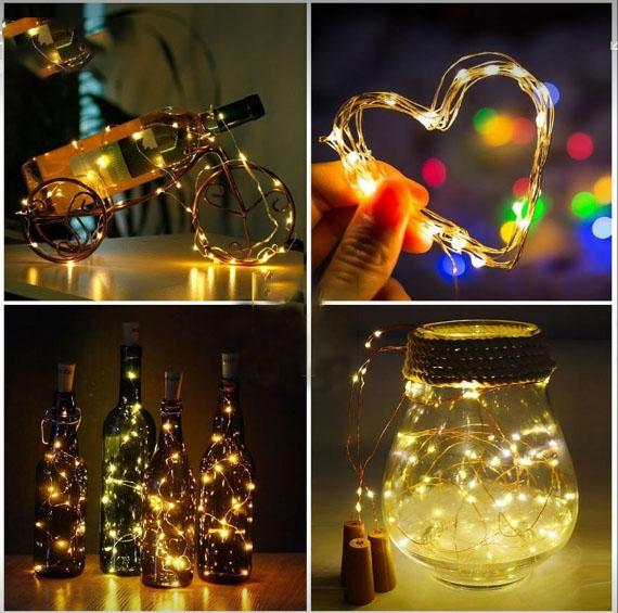 Wholesale 2M 20Led Glass Wine LED String Light Cork Shaped Wine Bottle Stopper Light Lamp Christmas Party Decoration