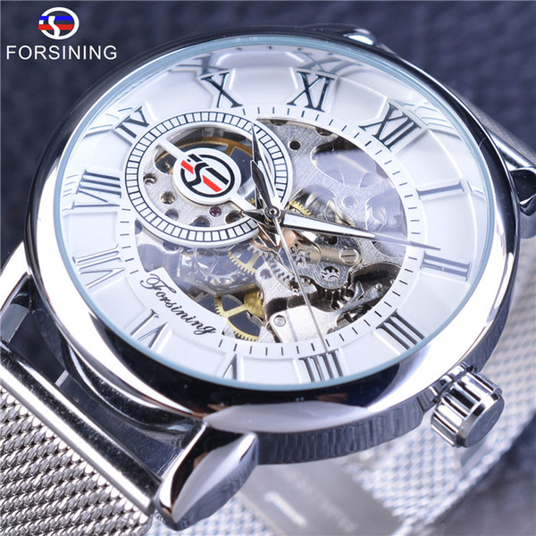 Forsining Mechanical Wrist Watch Retro Roman Number Dial Watches Men Silver Stainless Steel Belt Skeleton Watch horloge