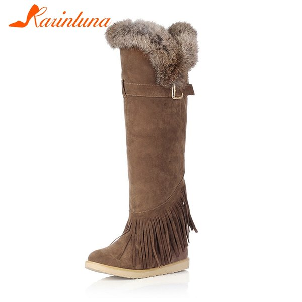 karinluna new fashion flat with solid belt buckle fringe shoes woman casual winter knee-high boots large size 34-43