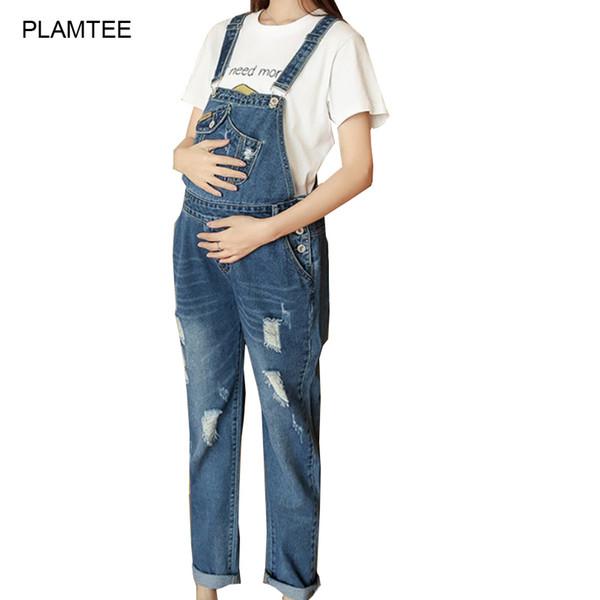 M-3XL Artı Boyutu Analık Delik ile Yırtık Kot Ayarlanabilir 2017 Bahar Hamile Kadınlar için Denim Tulum Jean Pantolon Embarazada
