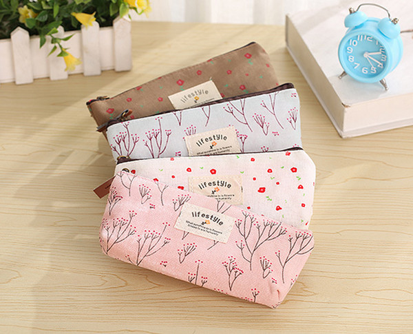 top popular 2018 new School Canvas Pencil bags children Pencil Pouch Zipper Lovely cute Cosmetic Bags office buggy bag Pencil Case 2021