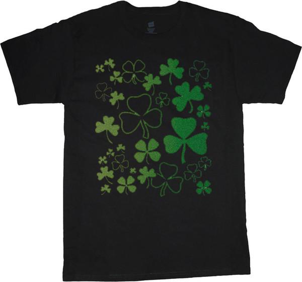 big and tall t-shirt lucky shamrocks st patricks day tee shirt tall shirt men's 2018 Short Sleeve, O-Neck 100% Cotton, Print Mens Summer,