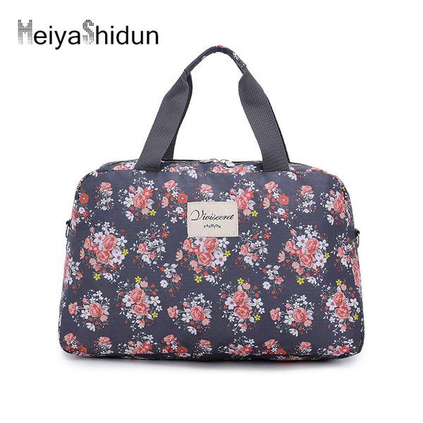 Rose print Travel handbags women Portable folding Weekend travel duffle Bags Men Luggage Bag ladies Tote package bolsa viaje sac