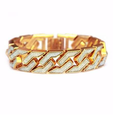Hip Hop Full AAA CZ Stone Pave Bling Iced Out Rapper Bracelet Unique Gold Color Watch Band Link Chain Bracelets for Men Jewelry