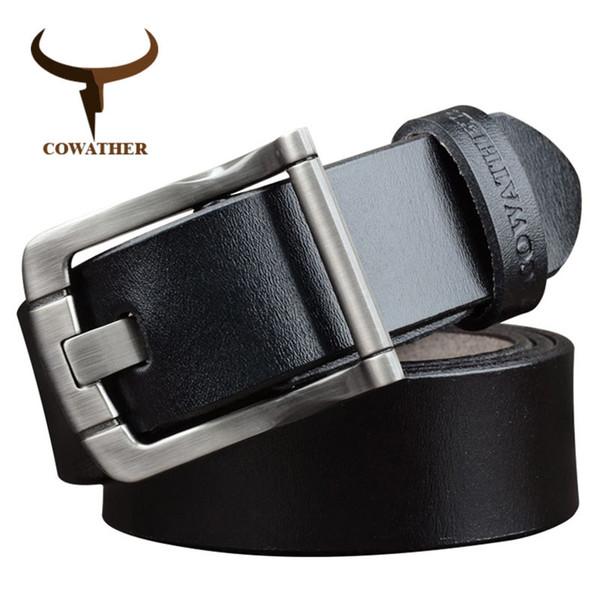 COWATHER erkekler kemerler erkekler için inek hakiki deri kemer dana moda alaşım toka erkek kayış lüks sapanlar ücretsiz kargo XF027