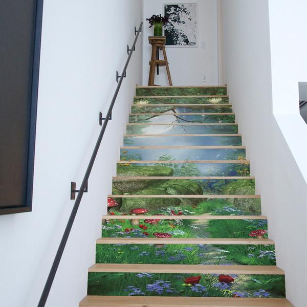 Acheter / Set Creative DIY 3D Stairway Stickers Motif Forêt Magique Pour  House Stairs Décoration Escalier Sticker De $87.44 Du Wallstickerworld | ...
