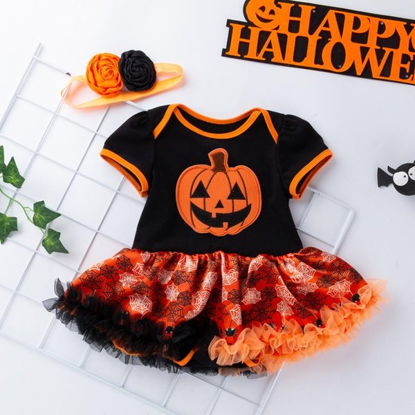 Children Cosplay Dress Infant Toddler Baby Girl Princess Dress Halloween Party Costume Bow headband 2pcs kids Clothing
