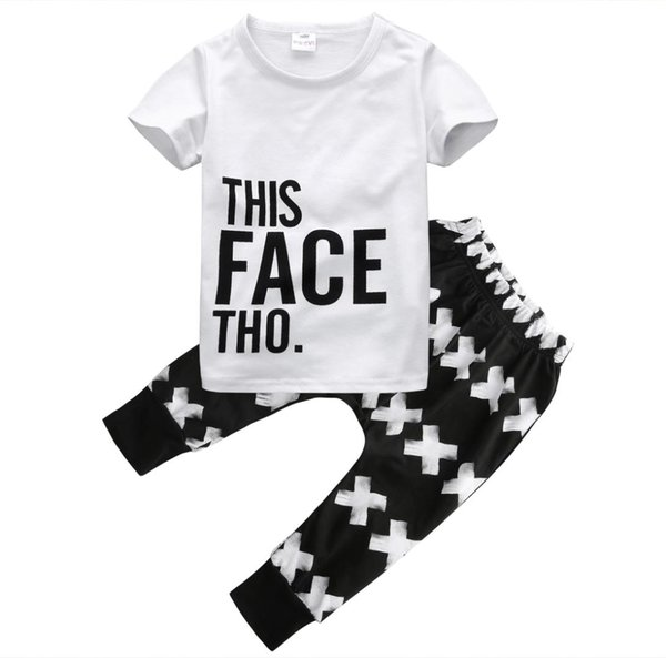 2PCS Newborn Infant Kid Baby Boys Clothes Toddler Cotton Casual Popular T-shirt Tops Pants Summer Outfits Set Clothes 0-5T Hot