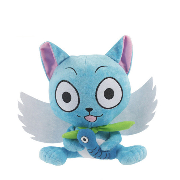 "New Super Cute Fairy Tail Blue happy Cat Cartoon Plush Toy Stuffed Toy Doll Gift For Kids (Size : 6"" 15cm ) DR2"