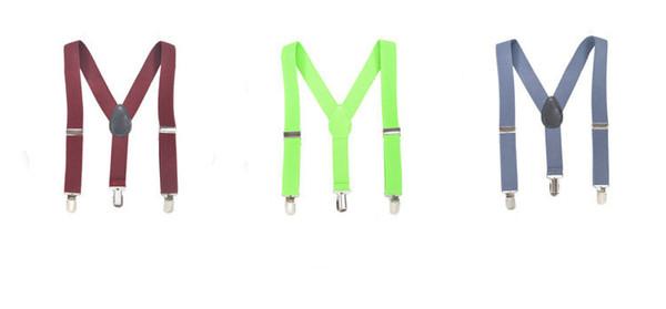 42 colorS New FASHION 2.5x100CM Children Kids Boy Girls Clip-on Y Back Elastic Suspenders ACCESSORIES Adjustable Braces Christmas gift