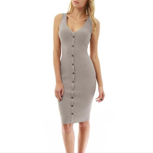 Женская одежда 2018 Sexy V-образным вырезом Hip формальное платье женщины Элегантная сексуальная кнопка Black Grey Полосатое летнее платье Bodycon Streetwear