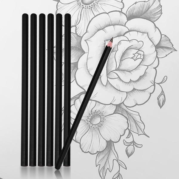 12pcs Eyebrow Tattoo Line Design Pencil 4B Fixed Position Waterproof Positioning Pen Tattoo Manuscript Pencil Permanent Makeup Supply