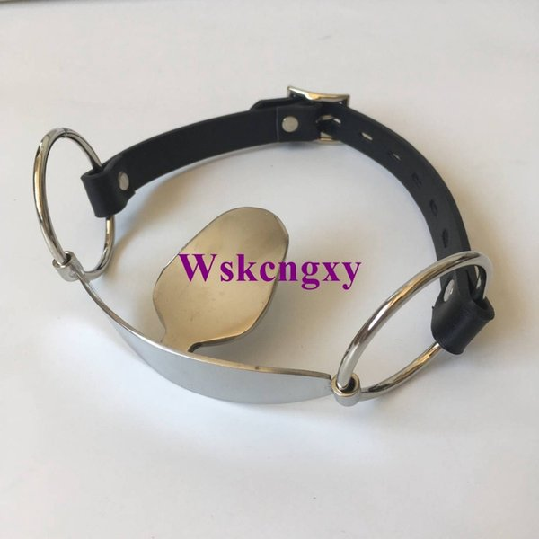Stainless Steel Open Mouth Gag Tongue Flail Sex Slave BDSM Bondage Restraints Fetish Sex Toys For Couples Erotic Toys Adult game Y18100801