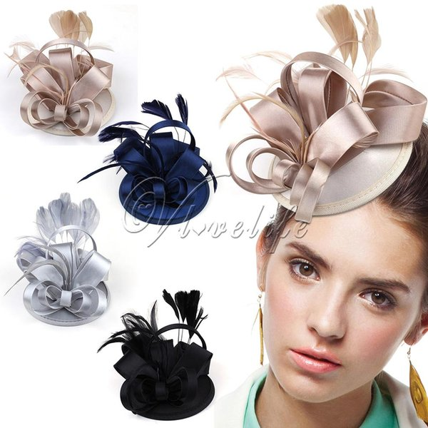 Fashion Lady Girl Vintage Satin Fascinator Feather Clip Hat Topper Party Wedding Races Hair Clip Accessories