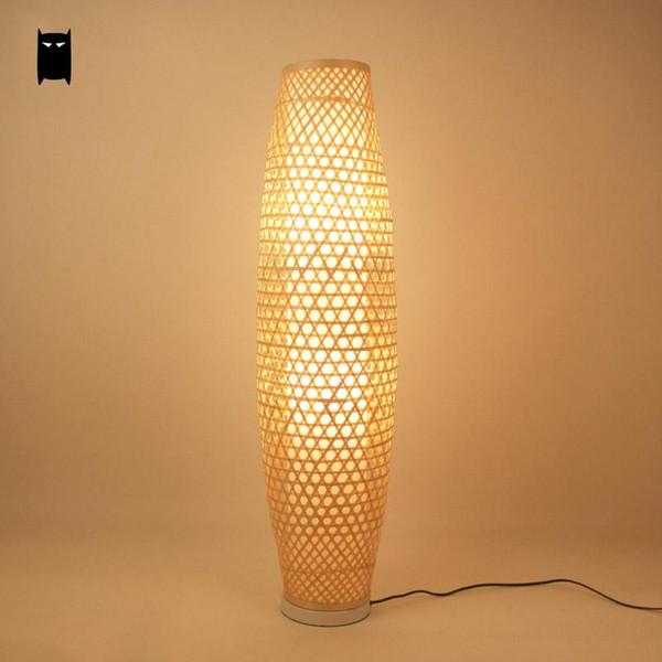 Bambu Hasır Rattan Gölge Vazo Zemin Lambası Fikstürü Rustik Asya Japon Nordic Sanat Işık Abajur Luminaria Uydurma Armatür