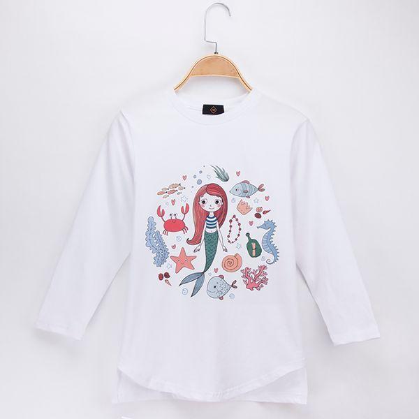 2018 New Product Kids Clothes Girl T-shirt Mermaid Cartoon Print 100% Cotton Full Children Long Sleeve T Shirts Baby Clothing Boy Tops Tees
