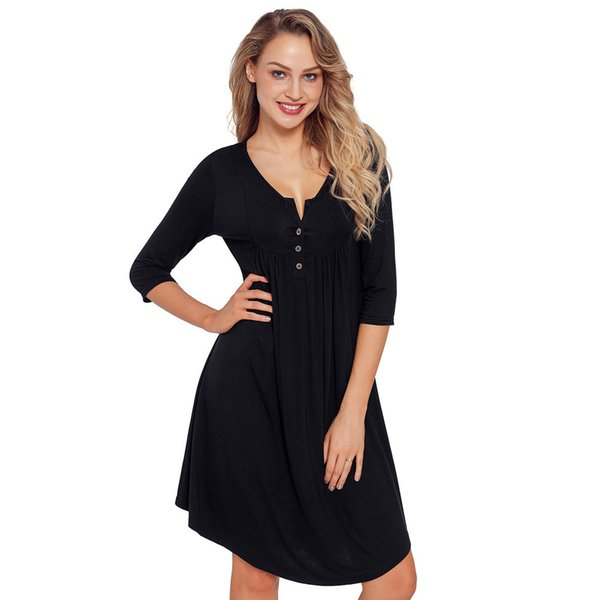 Women Quarter Sleeved Casual Loose Fit Tunic Mini Dress O Neck Button Down Ruched Autumn Party Club Jersey Dress Lc220405 Summer Lace Dress Black