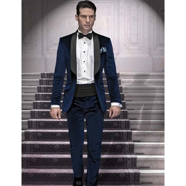 Blue Groomsmen Shawl Black Lapel Groom men suit Tuxedos Navy Blue Mens Suits Wedding Best Man (Jacket+Pants+Bow Tie+Hankerchief)