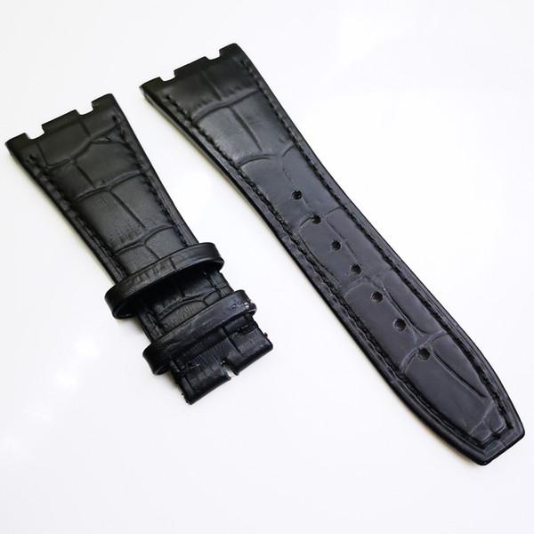 Banda de correa de piel de becerro de alta calidad de lujo negro de 26 mm / 18 mm para AP Audemars Piguet Royal Oak