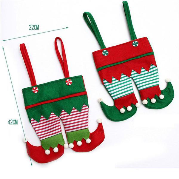 Novo Tecido Não Tecido de Natal Elf Calças Meia Saco de Doces Crianças X-mas Decoração Do Partido Presente Do Ornamento KKA2274