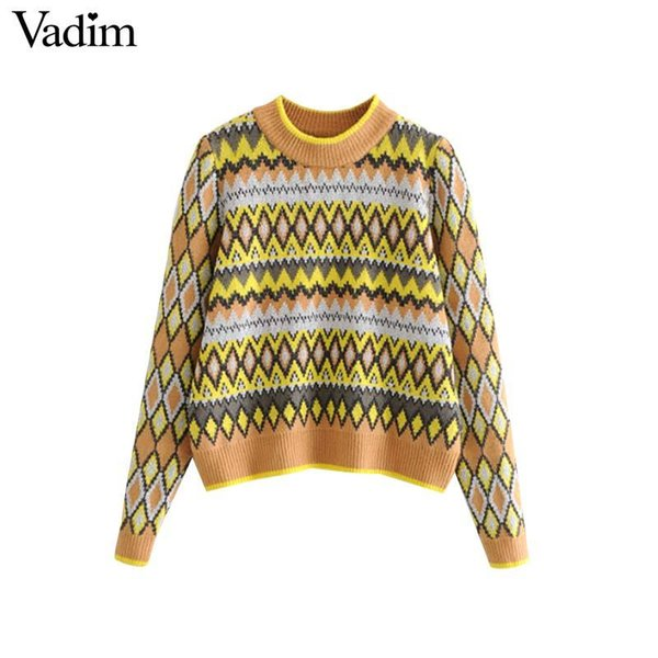 Vadim women geometric pattern knitted sweater short style long sleeve cute stretchy pullovers female chic short tops HA196 C18110601