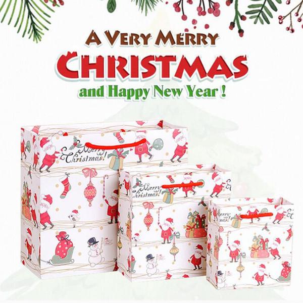 Средние веселые сумки праздника,большие сумки подарка Рождества, снежинки и с Рождеством бумажные сумки упаковки подарка 0304