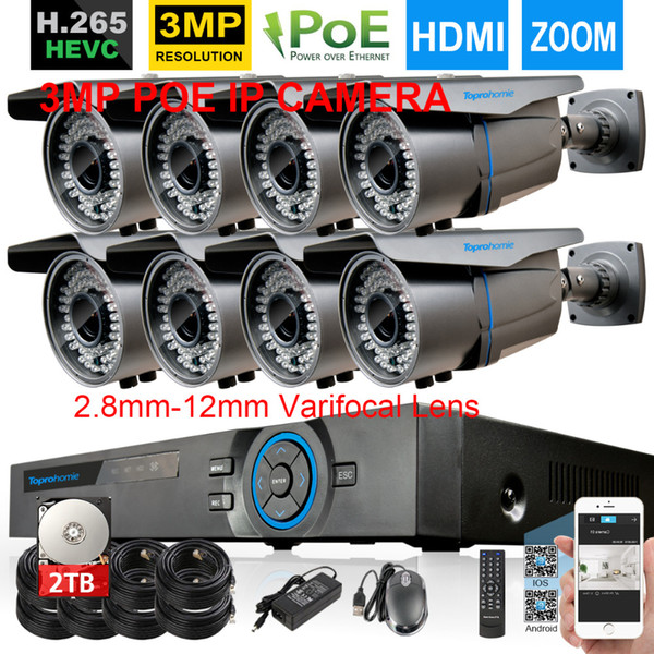 48V H.265 8CH POE NVR System 4MP NVR Recorder With 8pcs 3MP 2.8mm-12mm zoom POE IP security Camera 8CH Video Surveillance kit