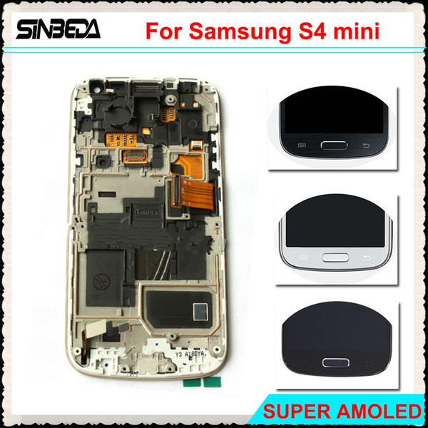 Sinbeda Super AMOLED LCD Screen Display For Galaxy S4 Mini I9190 i9192 i9195 Touch Screen Digitizer Assembly With Frame