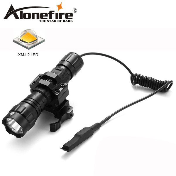 AloneFire 501Bs Tactical Flashlight CREE XM-L2 Hunting Torch camping light, lamp,for bicycle Pressure Switch Tactical Mount