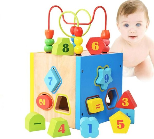 Multipurpose Wooden Cube Activity Center - Shapes Sorter Roller Coaster Bead Maze Kids Children Intelligence Box Prfect Gift Idea