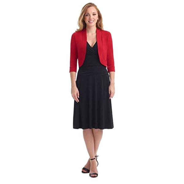 Outerwear & Coats Jackets Short Half Sleeve Solid Mini Office Work Cardigan Plus coats and jackets women 2018Oct4