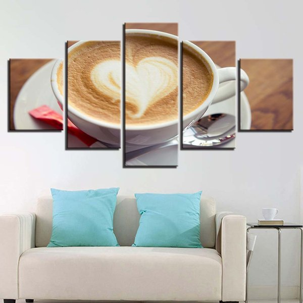 Paintings Wall Art Living Room Decor HD Prints 5 Pieces Coffee Artistic Modular Canvas Poster Pictures Kitchen Restaurant Frame