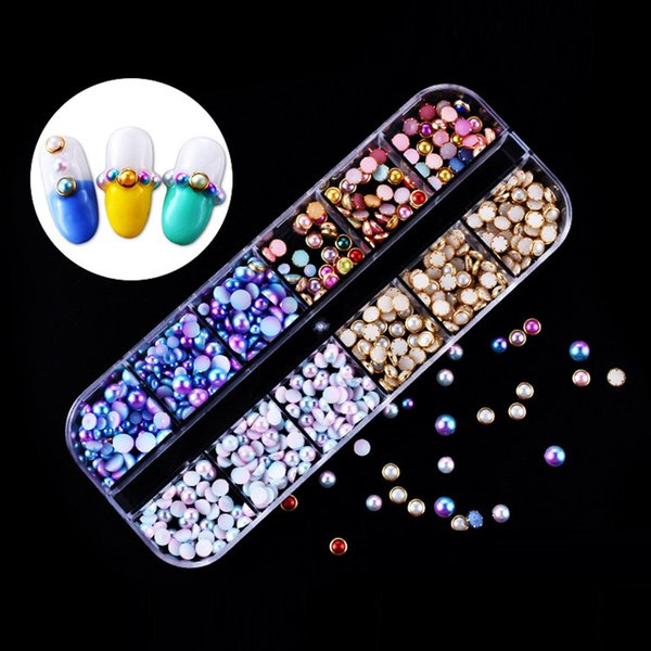 Bluezoo 1 Box Nail Rhinestone Nail Art Decorations Accessories Alloy Magic Color Pearls Horse Eye Sequins With Tweezer