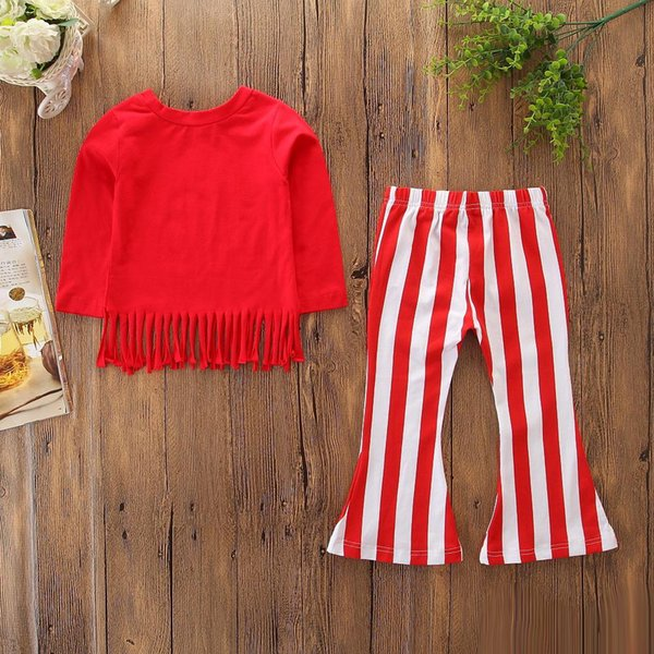 Baby Girls Sets Kids Red Tassel Long Seleeve T Shirts+ Red White Striped Bell-bottoms Boot 2 pcs Set Fashion Spring Autumn Outfits Clothing